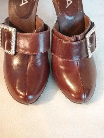 MIA Leather brown Mules Image 1