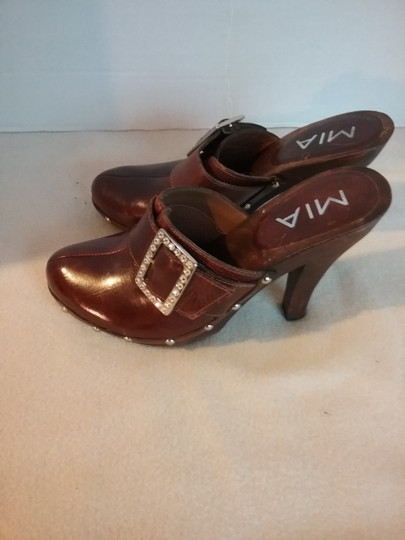 MIA Leather brown Mules Image 4