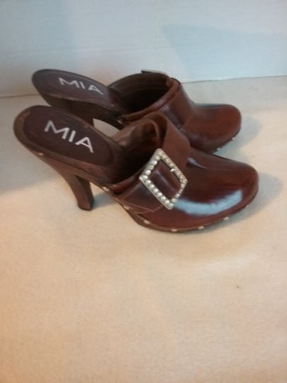 MIA Leather brown Mules Image 5