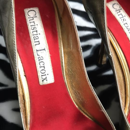 Christian Lacroix Brushed Gold Pumps Image 1