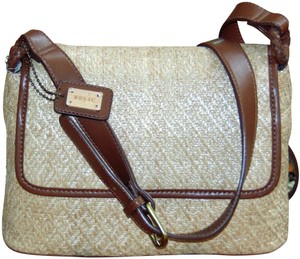 Relic Straw Crossbody Shoulder Creme Rattan & Brown Leather Travel Bag