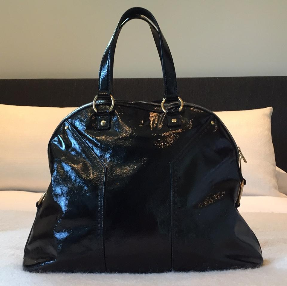 Saint Muse Laurent Shoulder Patent Bag Oversized Leather Black vrvdRwqF