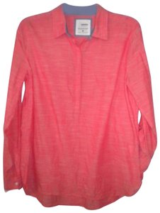 Sonoma The Everyday Shirt Long Sleeve Button Chest Hi/Lo Top Salmon
