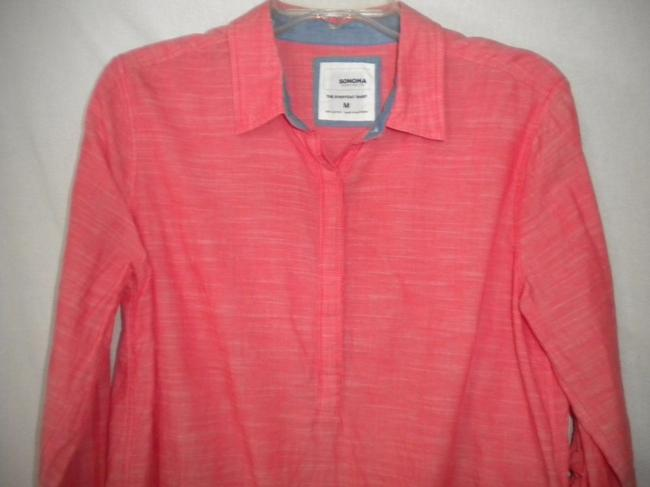 Sonoma The Everyday Shirt Long Sleeve Button Chest Hi/Lo Top Salmon Image 1