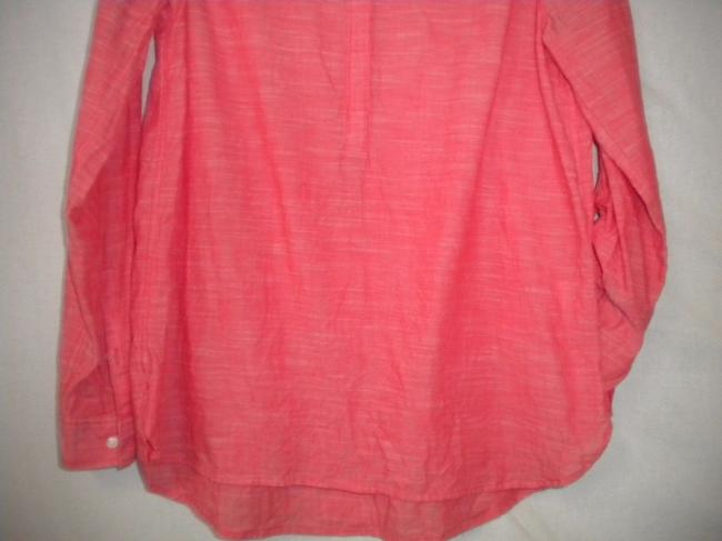 Sonoma The Everyday Shirt Long Sleeve Button Chest Hi/Lo Top Salmon Image 2