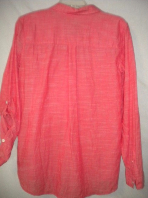 Sonoma The Everyday Shirt Long Sleeve Button Chest Hi/Lo Top Salmon Image 3