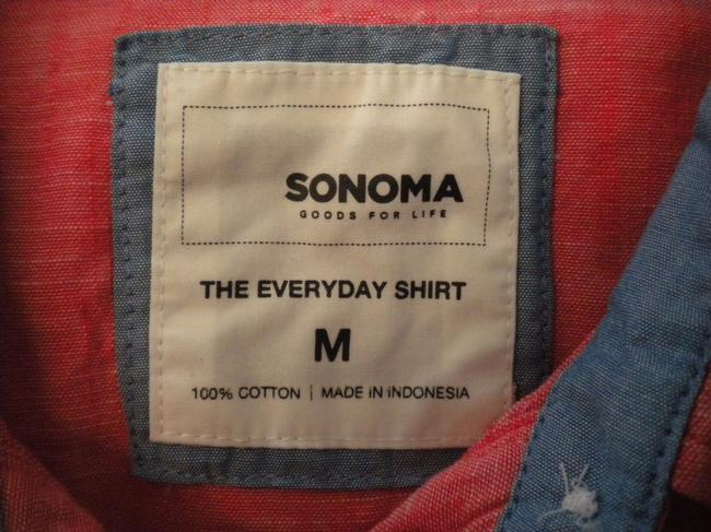 Sonoma The Everyday Shirt Long Sleeve Button Chest Hi/Lo Top Salmon Image 4
