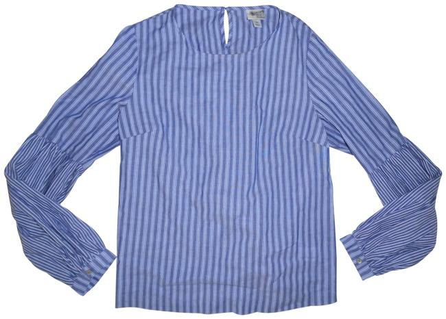 Preload https://img-static.tradesy.com/item/23777311/a-new-day-blue-white-denim-striped-peasant-lace-up-back-blouse-size-2-xs-0-1-650-650.jpg
