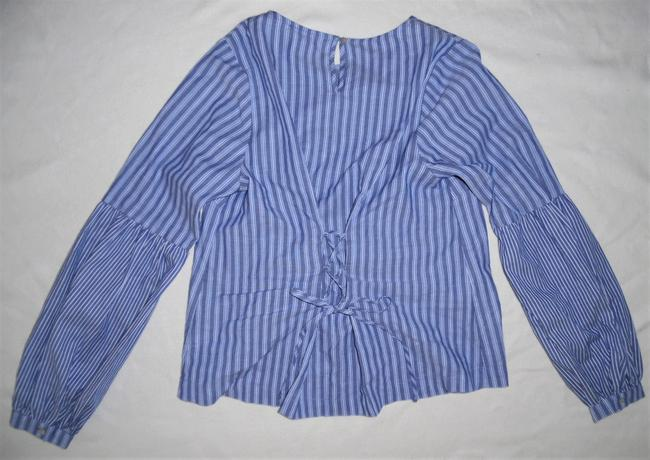 A New Day Peasant Style Puffed Sleeves Lace-up Top Blue, White Image 4