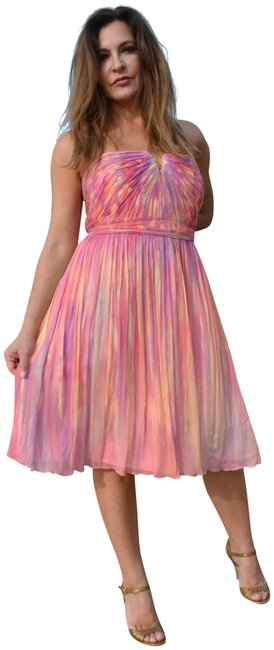 Preload https://img-static.tradesy.com/item/23777359/jcrew-pink-peach-hand-painted-one-of-a-kind-silk-chiffon-short-cocktail-dress-size-10-m-0-1-650-650.jpg
