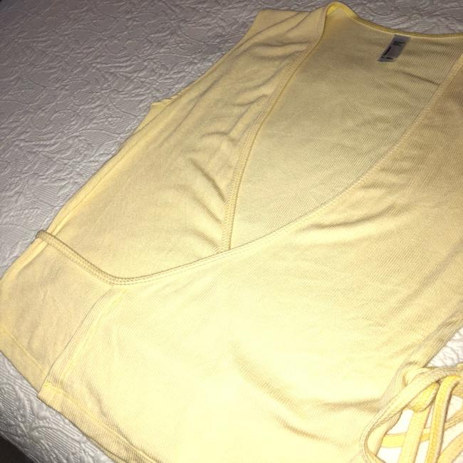 American Apparel V-neck Summer Date Night Spring Knit Top Yellow Image 4