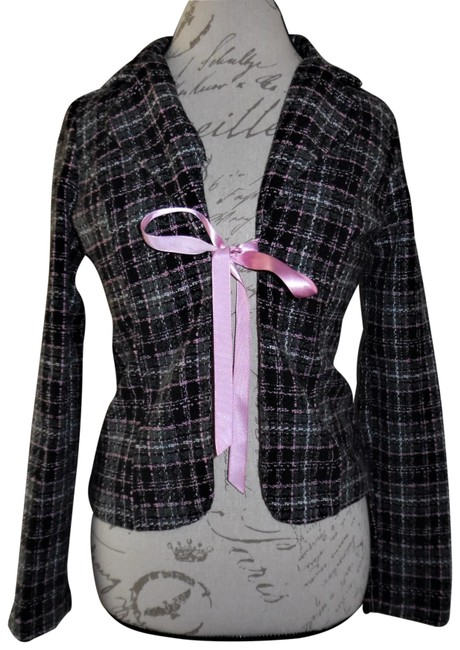 Preload https://img-static.tradesy.com/item/23777572/black-pink-gray-white-plaid-woven-bow-tied-front-top-blazer-size-8-m-0-1-650-650.jpg