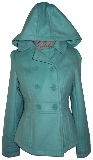 Item - Mint Green Soft Double-breasted Hooded Coat Size 12 (L)