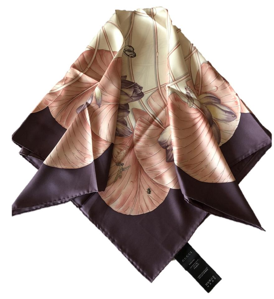 Gucci plum coral pink silk lotus flower print made in italy scarf 12345 izmirmasajfo