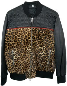 Faith Connexion Quilted Leather & Leopard Cowhide Bomber Jacket