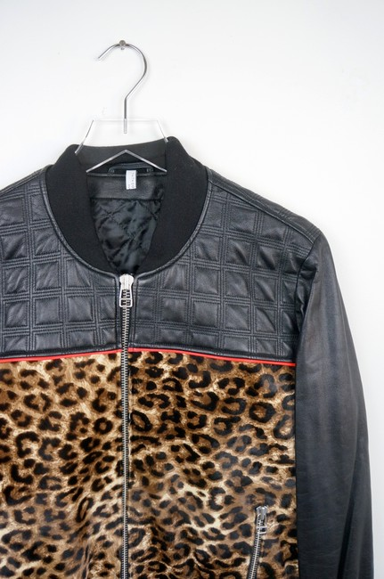 Faith Connexion Quilted Leather & Leopard Cowhide Bomber Jacket Image 1