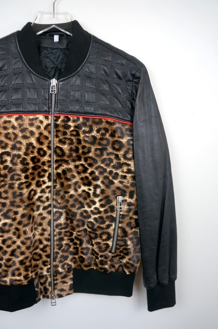 Faith Connexion Quilted Leather & Leopard Cowhide Bomber Jacket Image 2