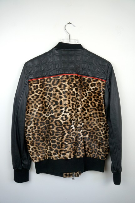 Faith Connexion Quilted Leather & Leopard Cowhide Bomber Jacket Image 3