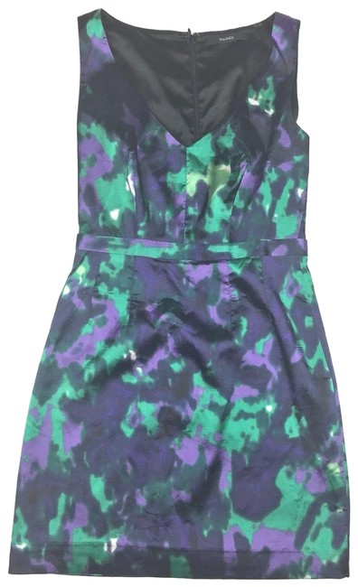Preload https://img-static.tradesy.com/item/23777815/tahari-multi-color-green-purple-sleeveless-short-cocktail-dress-size-2-xs-0-1-650-650.jpg