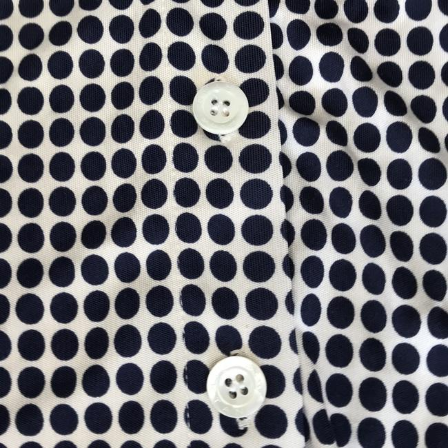 Pink Tartan Top ivory with navy polka dot Image 3