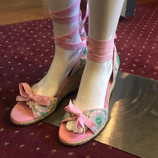 Lilly Pulitzer NEW Pink & Green Wedges Image 1