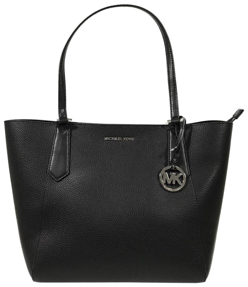 55d4d0196ba1 Michael Kors Kimberly Large Bonded Black Leather Tote - Tradesy