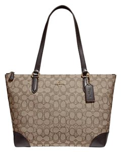 Coach Zip Top City City Tote in brown
