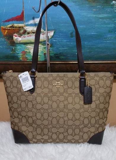 Coach Zip Top City City Tote in brown Image 1
