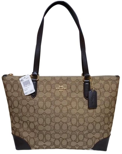 Coach Zip Top City City Tote in brown Image 6