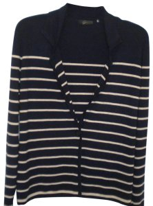 Bryn Walker Striped Long Sleeve Button Front Navy/White Sweater