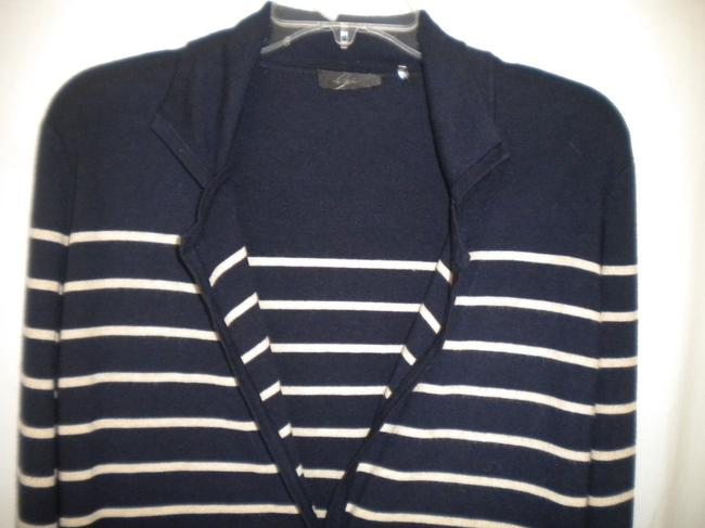 Bryn Walker Striped Long Sleeve Button Front Navy/White Sweater Image 1