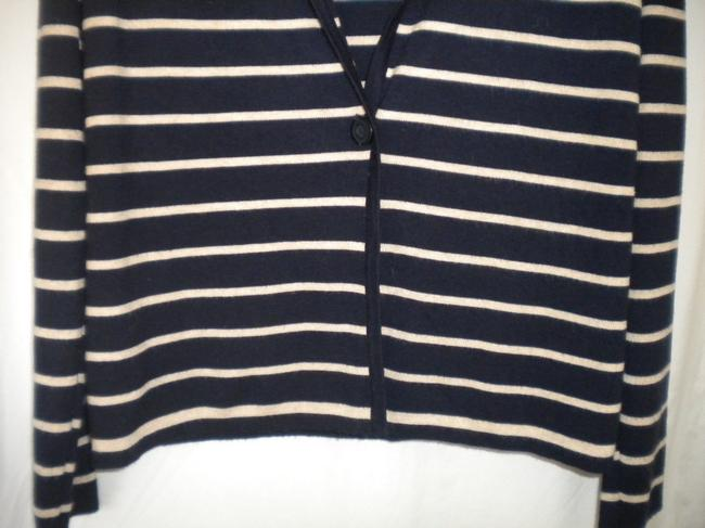 Bryn Walker Striped Long Sleeve Button Front Navy/White Sweater Image 2
