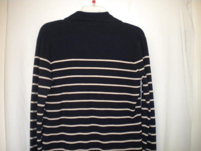 Bryn Walker Striped Long Sleeve Button Front Navy/White Sweater Image 3