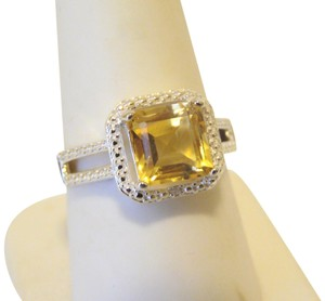 Other Sevilla Silver 2.35ctw Cushion-Cut Citrine Diamond Accented Ring 9