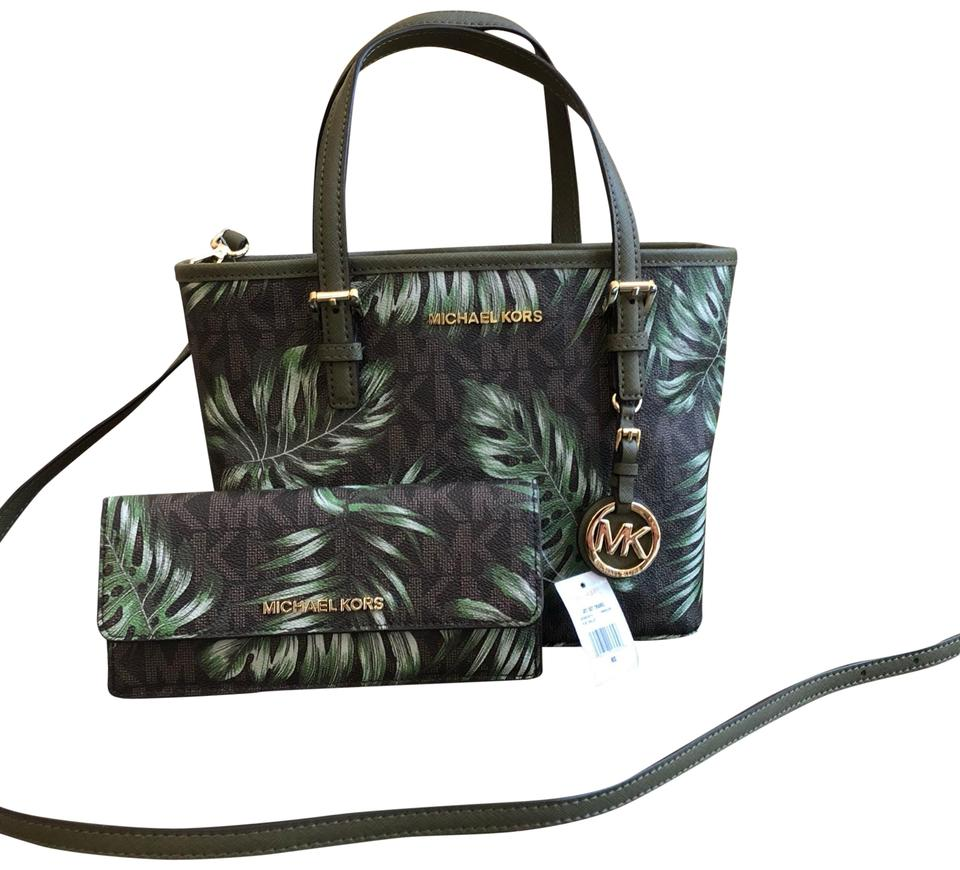 73be6c2a93 Michael Kors Leaf Summer 2pcs Leahter Floral Tote in brown/olive Image 0 ...