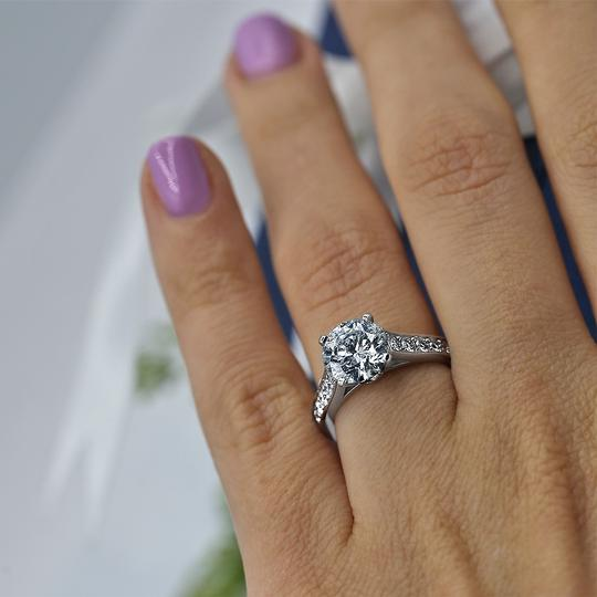 Platinum Engagement with Solitaire 2.14ct Round Cut Ring Image 1