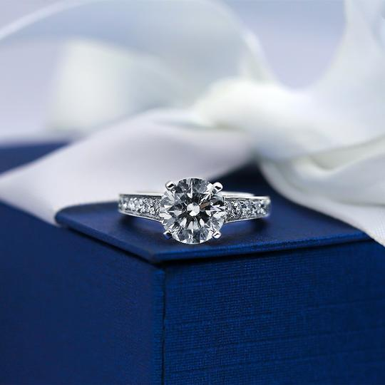 Platinum Engagement with Solitaire 2.14ct Round Cut Ring Image 2
