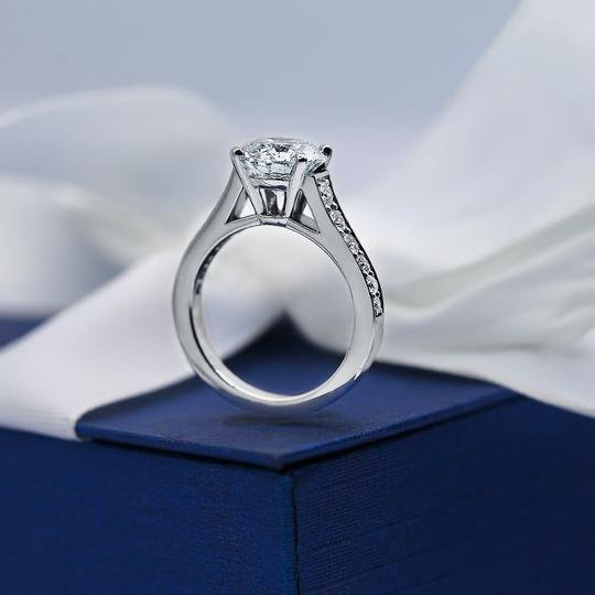 Platinum Engagement with Solitaire 2.14ct Round Cut Ring Image 3