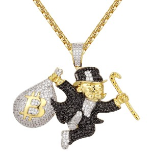 Master Of Bling Iced out 14k Gold Finish Monopoly Man Bitcoin Bag Custom Pendant Chain