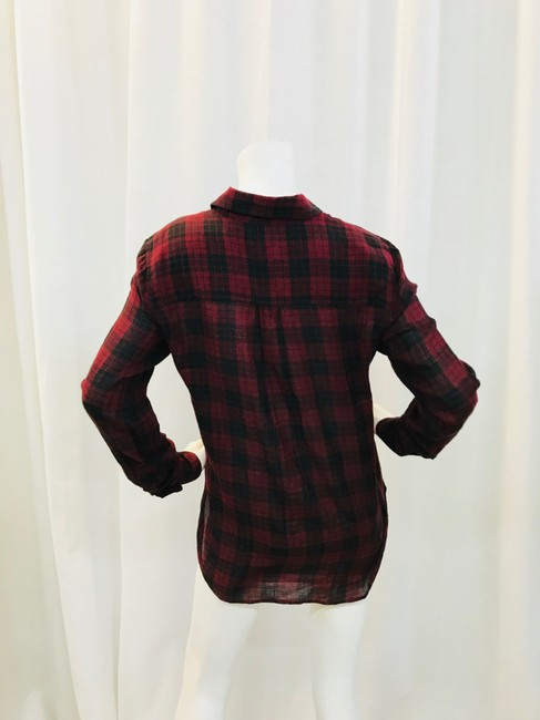 toile Isabel Marant Button Down Shirt Maroon/Black Image 2