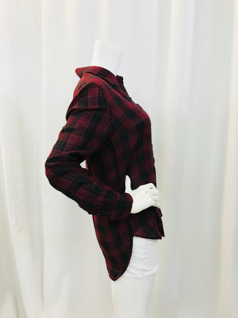 toile Isabel Marant Button Down Shirt Maroon/Black Image 3