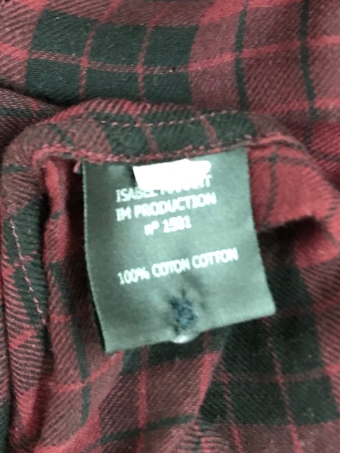 toile Isabel Marant Button Down Shirt Maroon/Black Image 7