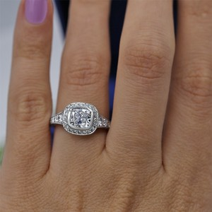 Platinum Certified Engagement with Center 1.52ct Cushion Cut Ring