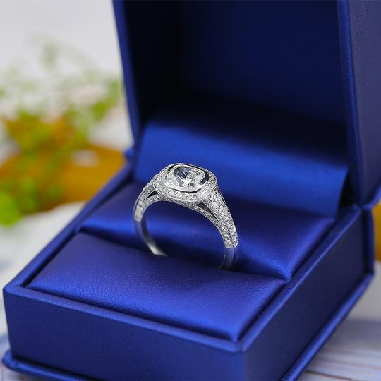 Platinum Certified Engagement with Center 1.52ct Cushion Cut Ring Image 1