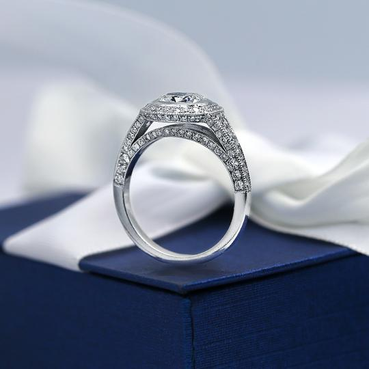 Platinum Certified Engagement with Center 1.52ct Cushion Cut Ring Image 2