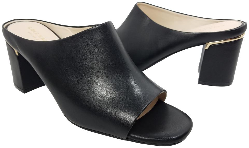 Cole Cole Cole Haan Black Leather Chunky Heel Mules/Slides 033c27