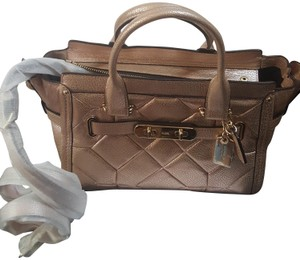 Coach Pebbled Leather Patchwork Satchel in Metallic Rose Gold