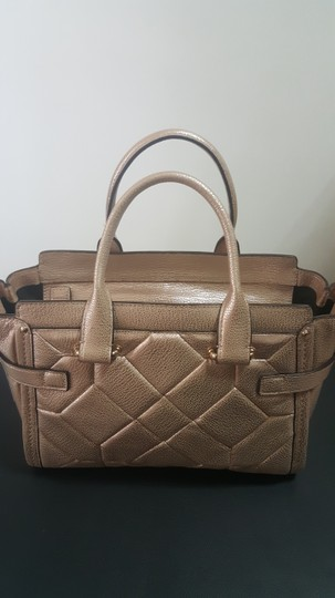 Coach Pebbled Leather Patchwork Satchel in Metallic Rose Gold Image 1