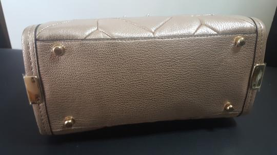 Coach Pebbled Leather Patchwork Satchel in Metallic Rose Gold Image 3