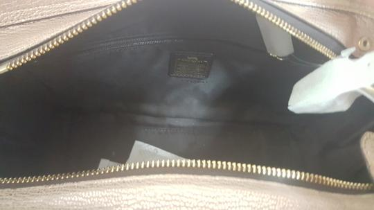 Coach Pebbled Leather Patchwork Satchel in Metallic Rose Gold Image 4